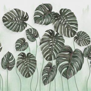 پوستر برگ های سبز بزرگ ایستاده روی زمینه آبرنگی